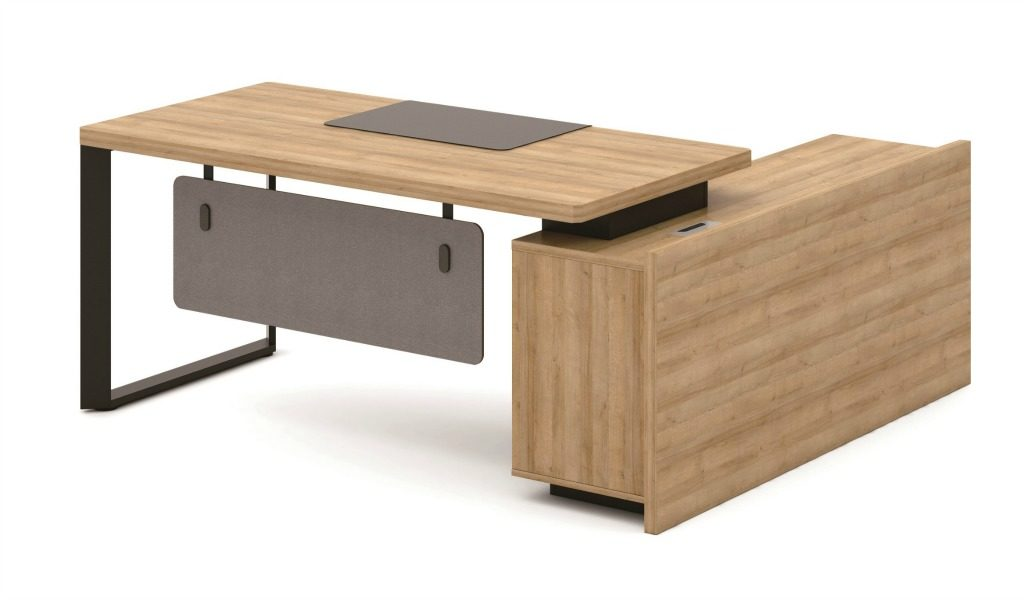 office desk in light oak finish with side cabinet
