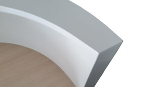 reception table in glossy white finish