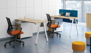 office with single seater workstations