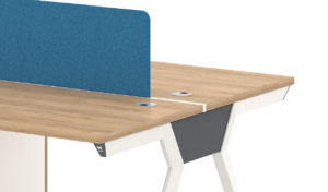 Workstation in light wood with blue fabric screen
