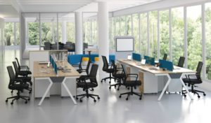Office area with workstations in light wood