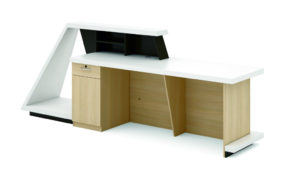 large reception table with storage