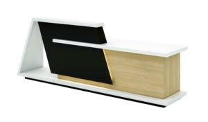 large reception table in glossy white and light oak