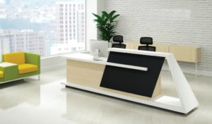 office reception area with last reception table