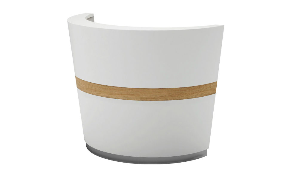circular reception desk in glossy white