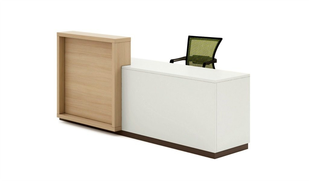 modern 8 feet reception desk in light oak laminate