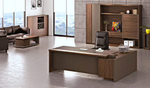 office cabin with office table in walnut laminate, chair and cabinet
