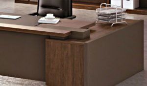 office table with side cabinet in walnut laminate