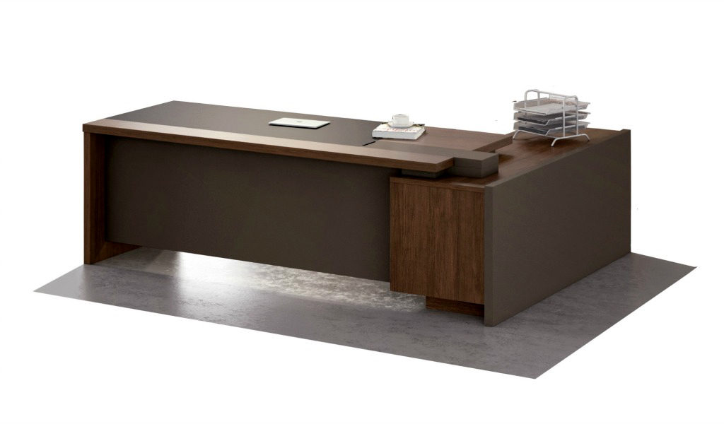 office table in walnut laminate with side cabinet