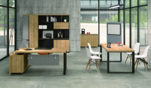 office cabin with office table and rear storage unit