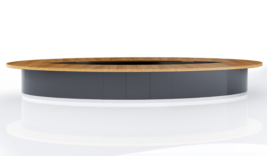 large oval shape conference table