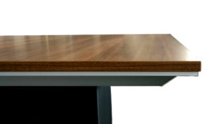 square meeting table walnut finish top profile view
