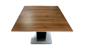 square meeting table with walnut finish top