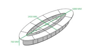 oval conference table size diagram