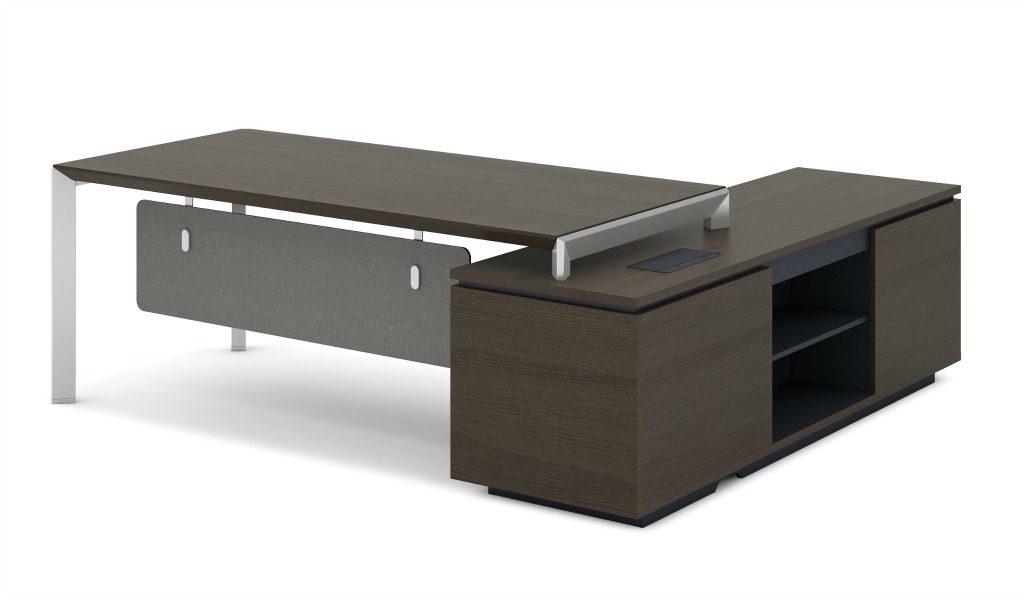 8 feet office table in dark oak with side cabinet