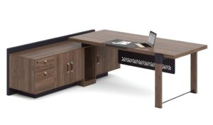 8 feet office table with side cabinet in walnut finish