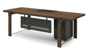 rectangular office desk with mobile pedestal and modesty panel in walnut