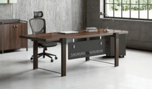 office cabin with rectangular office table, chair and storage unit