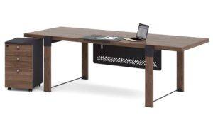 rectangular office desk with 4 legs and modesty panel in dark walnut laminate