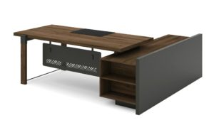 L shape office table with side credenza in dark walnut and carbon gray combination