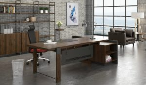 office cabin with 8 feet office table in walnut finish