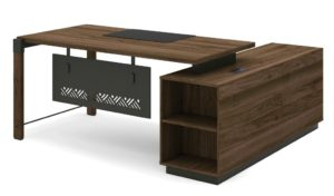 office table with side cabinet in dark walnut laminate