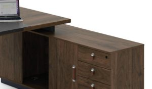 office table side cabinet with storage in dark walnut laminate