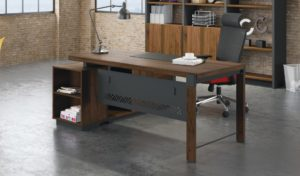 office cabin with L shape office table and back storage unit in dark walnut