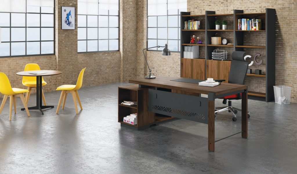 office with L shape office table in walnut laminate