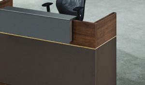 reception table counter top in walnut and gray