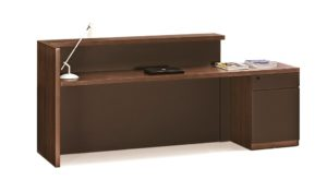 8 feet reception table in walnut with storage