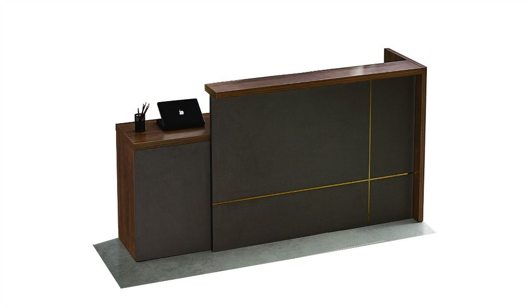 compact reception table in dark brown walnut wood