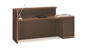 inside view of reception table with storage