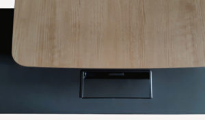 Oak laminate desktop with wire manager