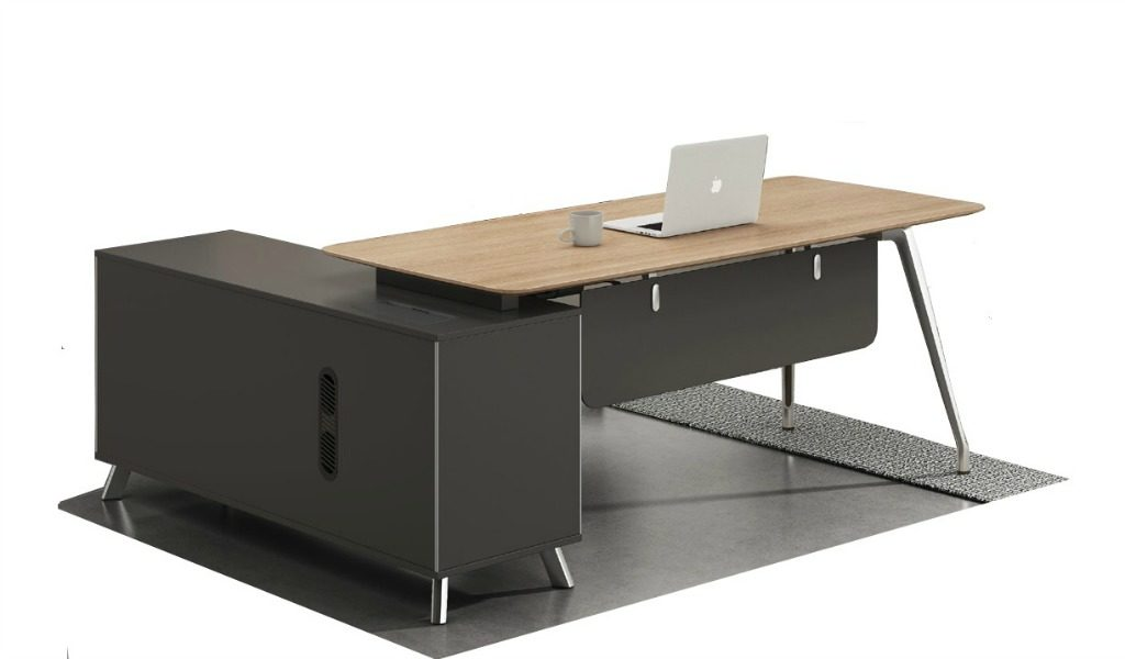 6.5 feet office table in oak laminate with side cabinet