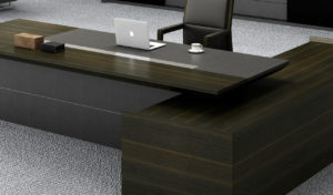 large executive office desk close up view