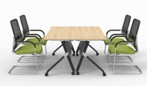 modular meeting table with castors with four chairs
