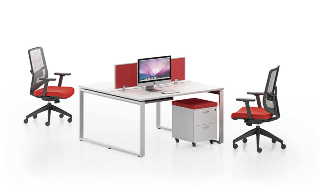 modular office desking system in white laminate and red screen