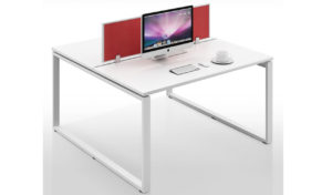 two seater modular office desk with red color privacy screen
