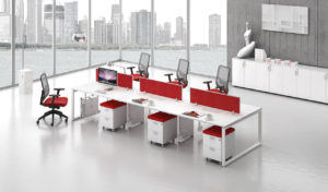 office with linear modular workstation system in white and red