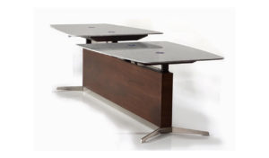 marble top height adjustable meeting table with dark walnut base.
