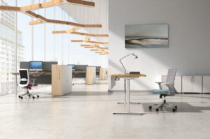 office with height adjustable modular workstations
