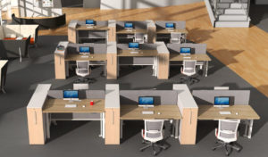 work are with rows of height adjustable workstations