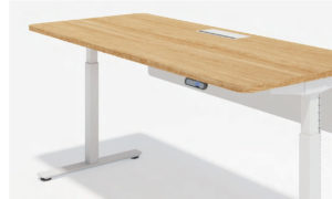 height adjustable workstation with light oak desk top and white metal legs