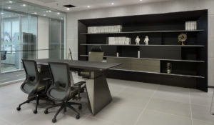office with futuristic office table and book shelf