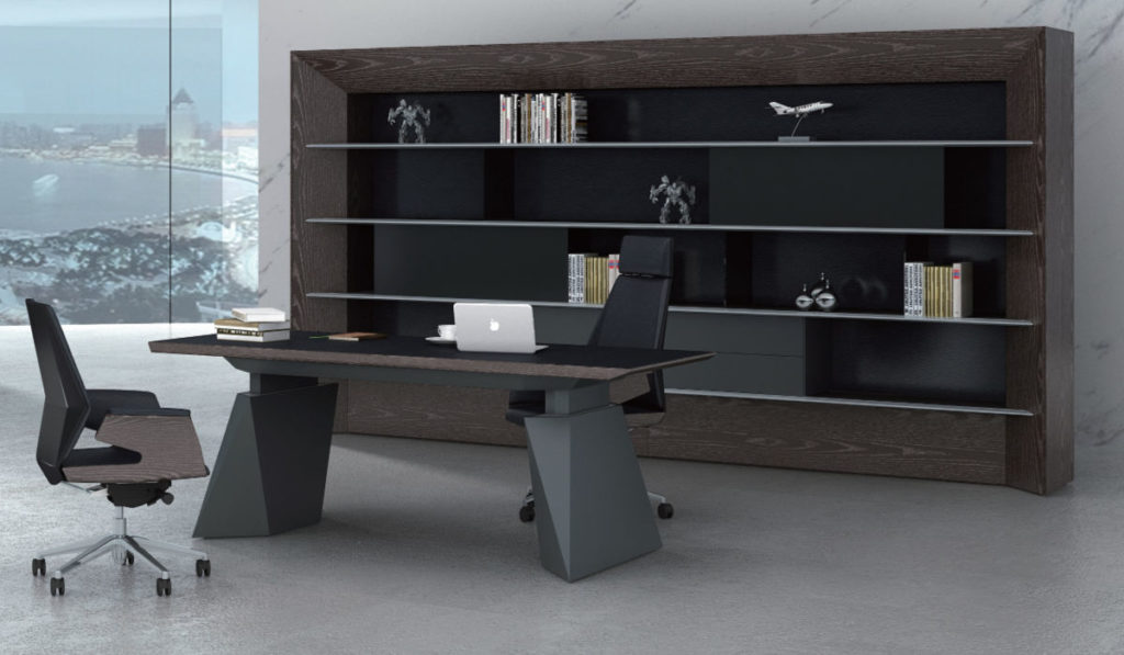 modern office cabin with height adjustable office desk and large back unit