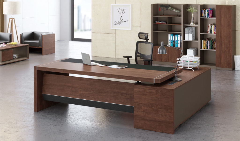 elegant office table with walnut wood office desk and rear cabinet