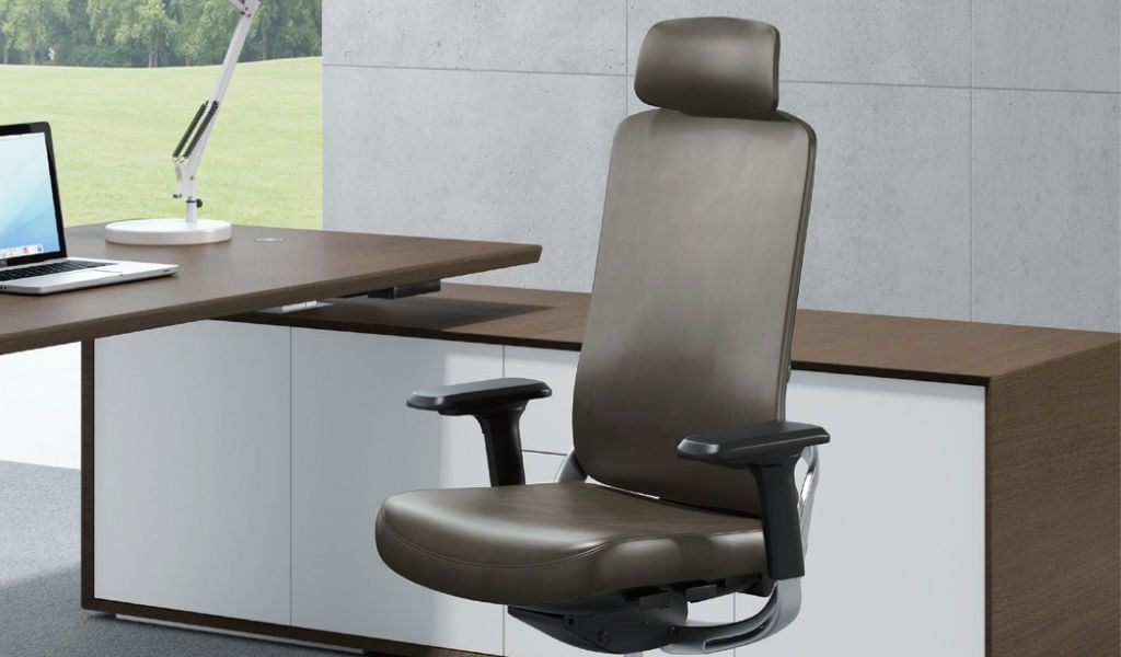 office desk with high back leather chair