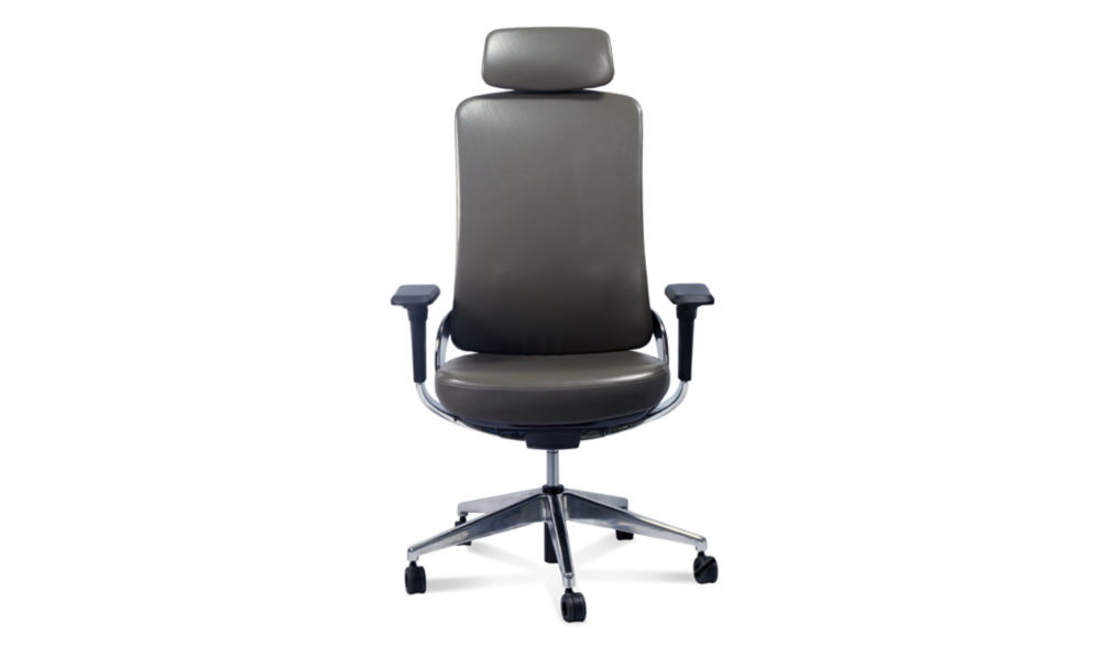 Gray leather office chair with headrest