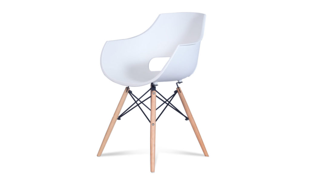 cafeteria chair in white plastic with light wood legs